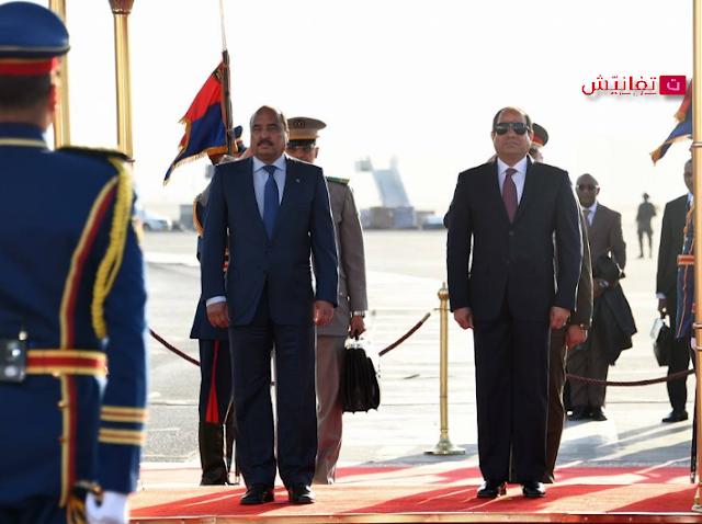 الرئيس المصري يستقبل الرئيس الموريتاني بمطار القاهرة الدولي