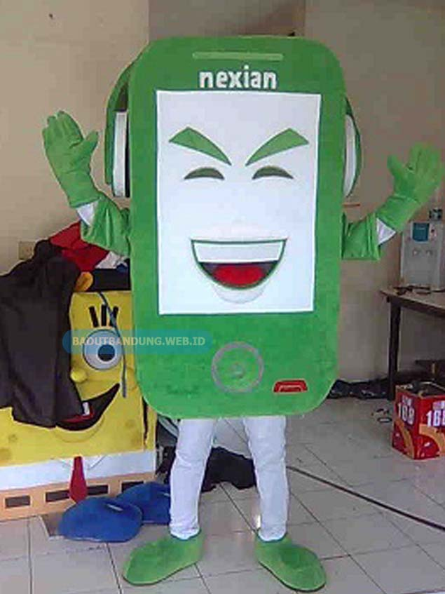 Desain badut android maskot nexian tombol abu