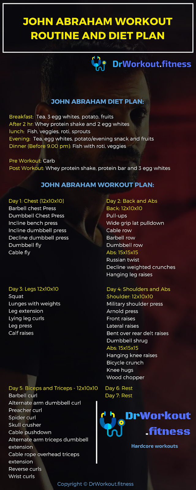 John Abraham Workout Routine And Diet Plan Dr Workout