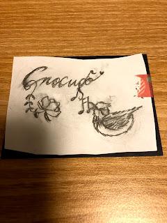 花と鳥とロシア語の切り絵(Спасибо)の下絵