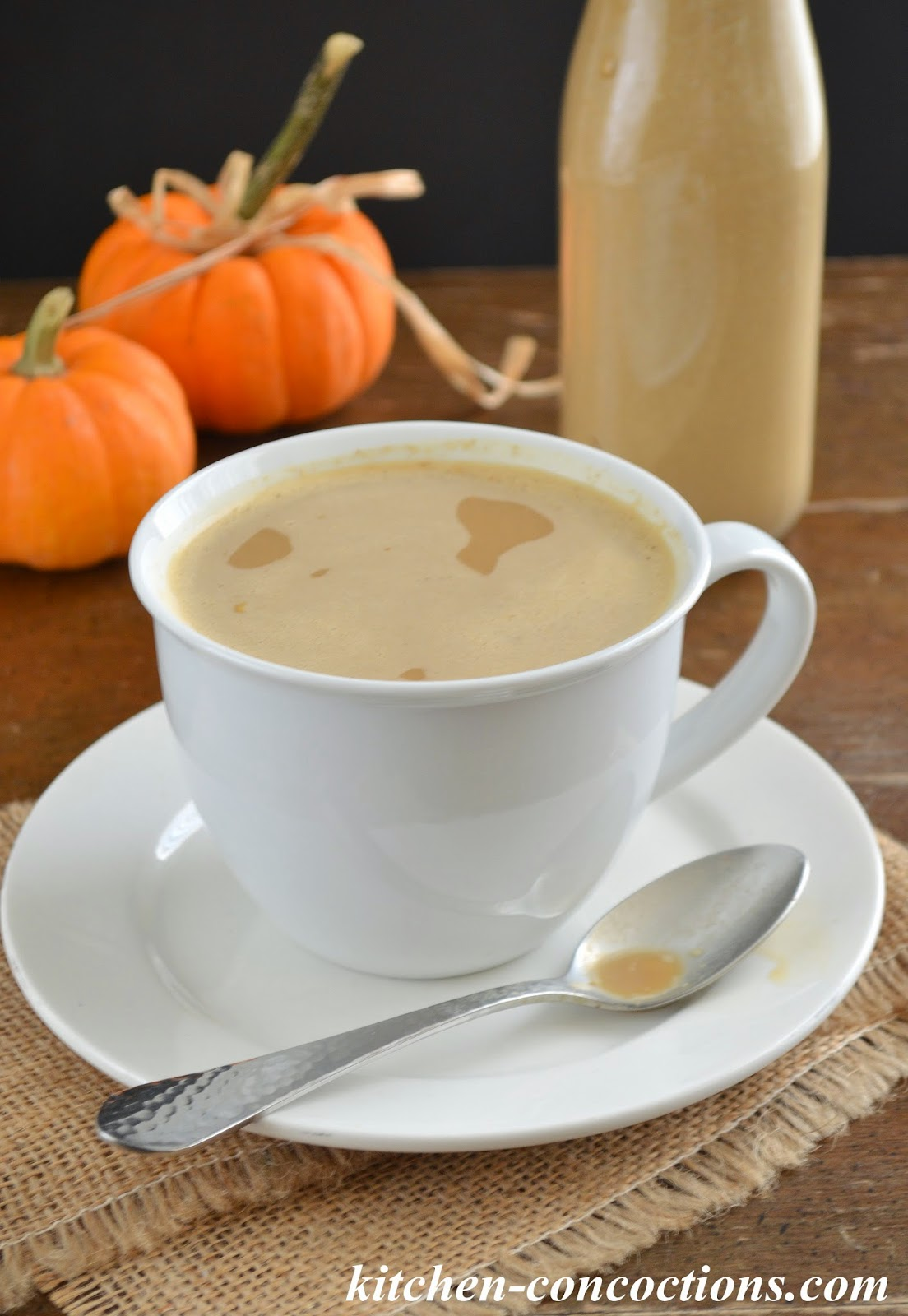 Homemade {Healthier} Pumpkin Spice Coffee Creamer by Heather H. of Kitchen Concoctions: www.kitchen-concoctions.com · Printable Version
