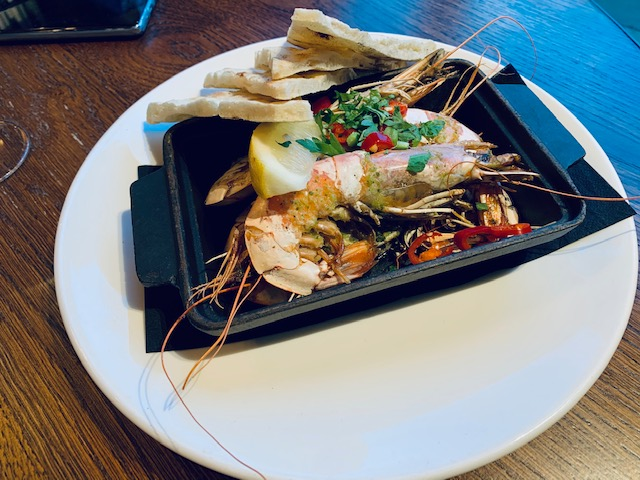 Grilled rosso prawns with chilli, and flatbread
