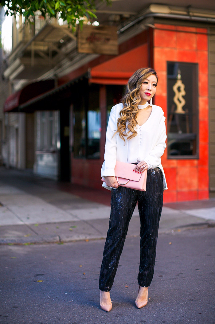 Trouve shay sequin pants, Wayf sweet symphony v neck blouse, henri bendel marquis convertible clutch, baublebar earrings, christian louboutin so kate pumps, holiday party outfit ideas, holiday party essential, holiday outfit ideas, san francisco street style, san francisco style blog