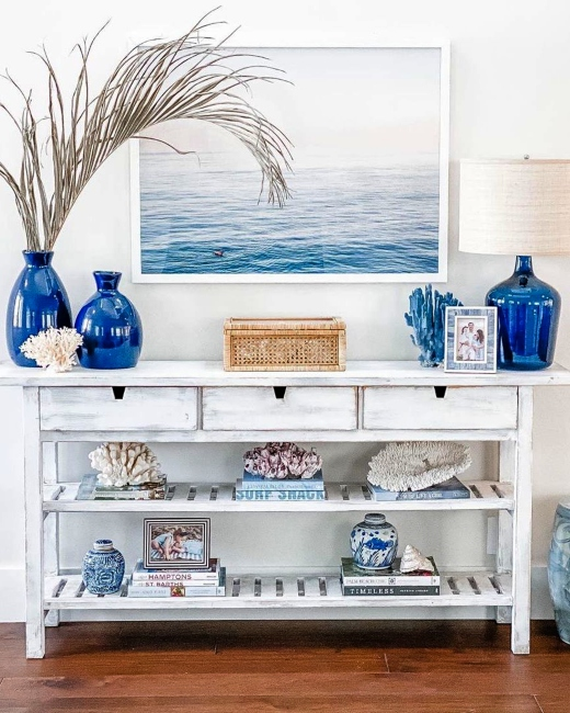 How to Style a Console Table with Large Ocean Art