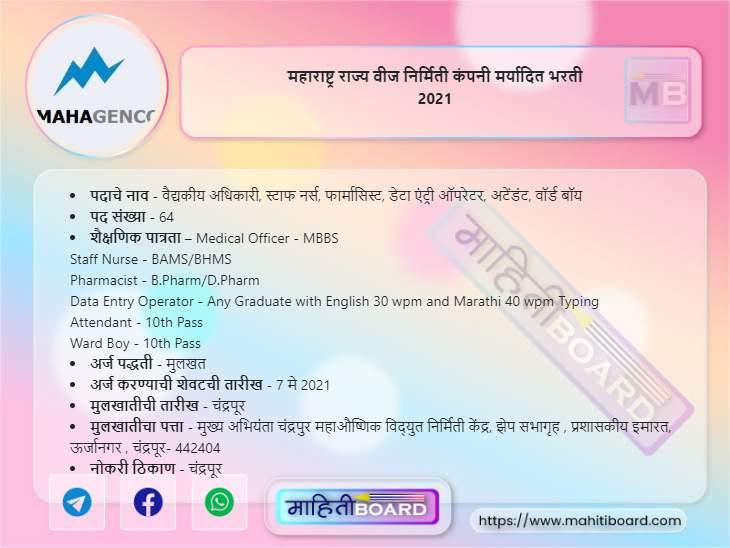 MahaGenco Chandrapur Recruitment 2021