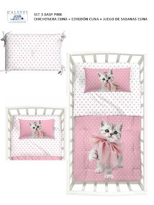 Baby Pink de Caleffi. Set 3 Cuna (Chichonera + edredón + juego cama))