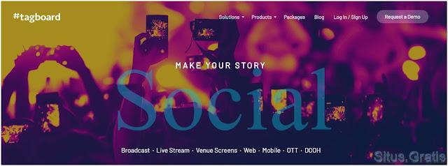 Tagboard adalah platform yang memungkinkan Anda untuk mengumpulkan data dari situs jejaring sosial seperti Twitter dan Facebook