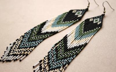 купить этно серьги из бисера в интернет магазине украшения ручной работы этника