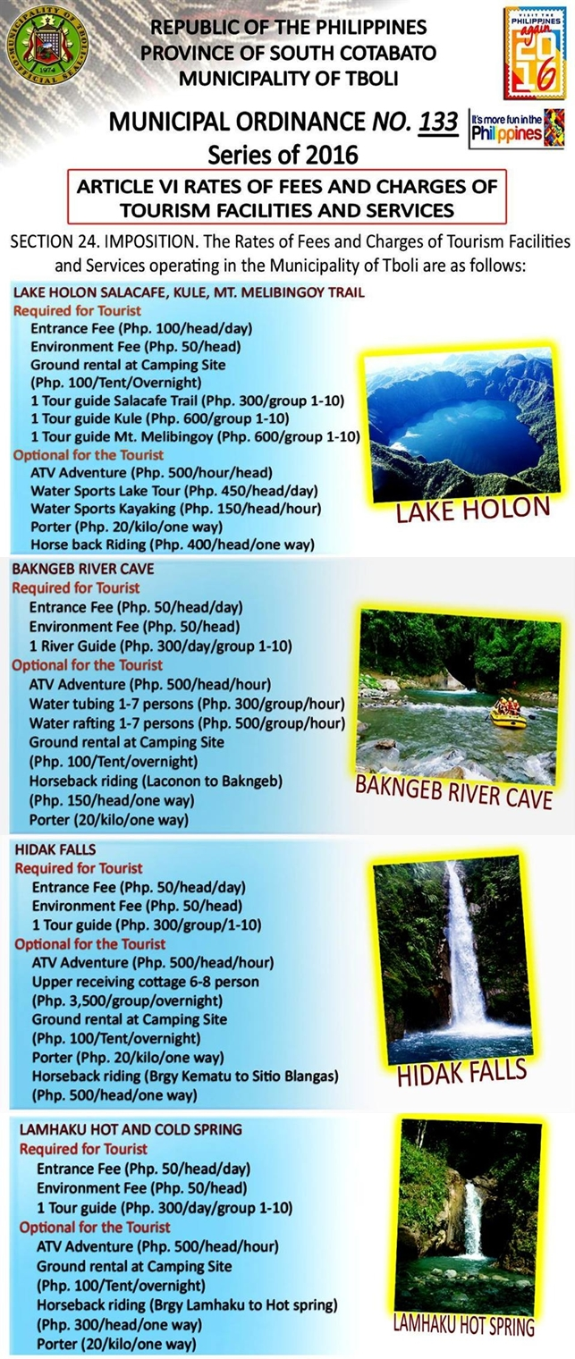 New Approved Rates & Fees for Lake Holon, Bakngeb River Cave, Lamhaku Hot & Cold Springs, and Hidak Falls