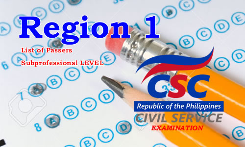List of Passers Region 1 August 2017 CSE-PPT Subprofessional Level