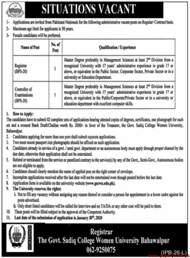 The Govt Sadiq College Women University Bahawalpur Jobs 2020