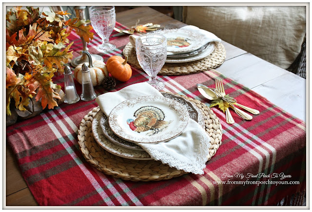 Turkey Plates-Farmhouse -Thanksgiving- Fall- Dining Room-From My Front Porch To Yours
