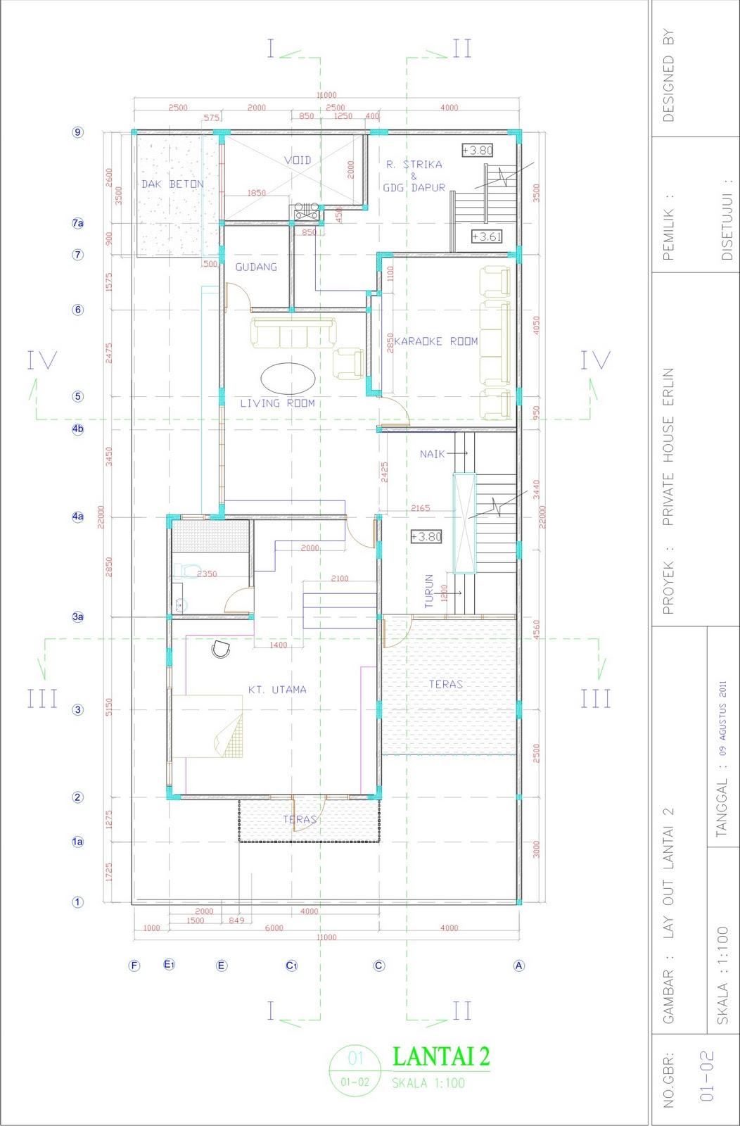 Freelance Drafter Design Gambar Kerja Rumah Tinggal 3 Lantai