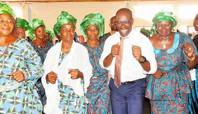 image result for edo market women endorse godwin obaseki