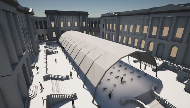 An artist impression of the University of Edinburgh's Old College Quad, one of three locations which will host live performances in temporary outdoor pavilions during the 2021 Edinburgh International Festival.