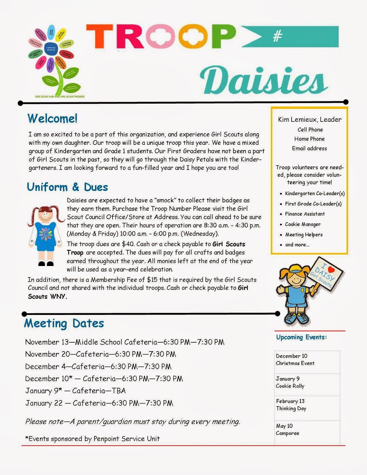 Girl Scout Multi-Level Troop Newsletter Template Work Pinterest.