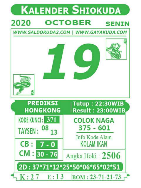 Kode syair Hongkong senin 19 oktober 2020 211