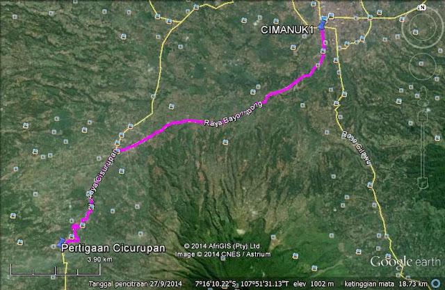 Rute dari Garut menuju ke Cisurupan sejauh 19 km