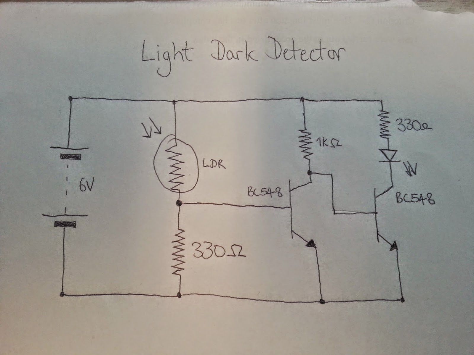 The Answer Is 42 How To Design A Simple Light Dark Detector Transistor Circuit We Can Then Use That Change Of State Turn Further From Off On And Controls Whether An Led Biased Or
