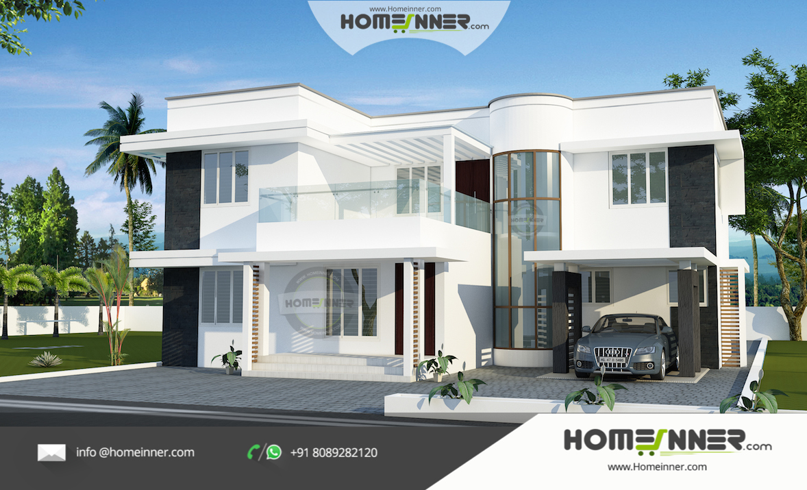 Contemporary White Luxury Home Design with 4 bedroom in 2312 sqft