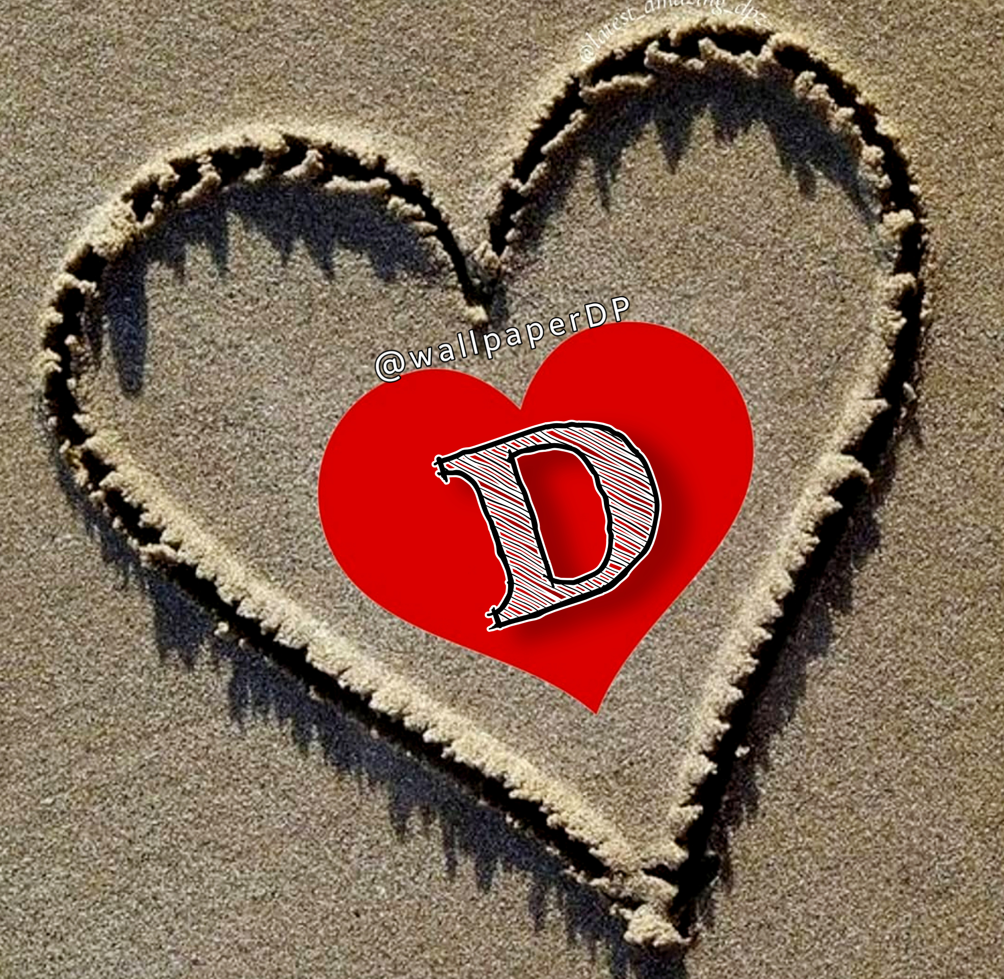 Write Alphabet pictures for Dp on Beach Sand Heart Shape for