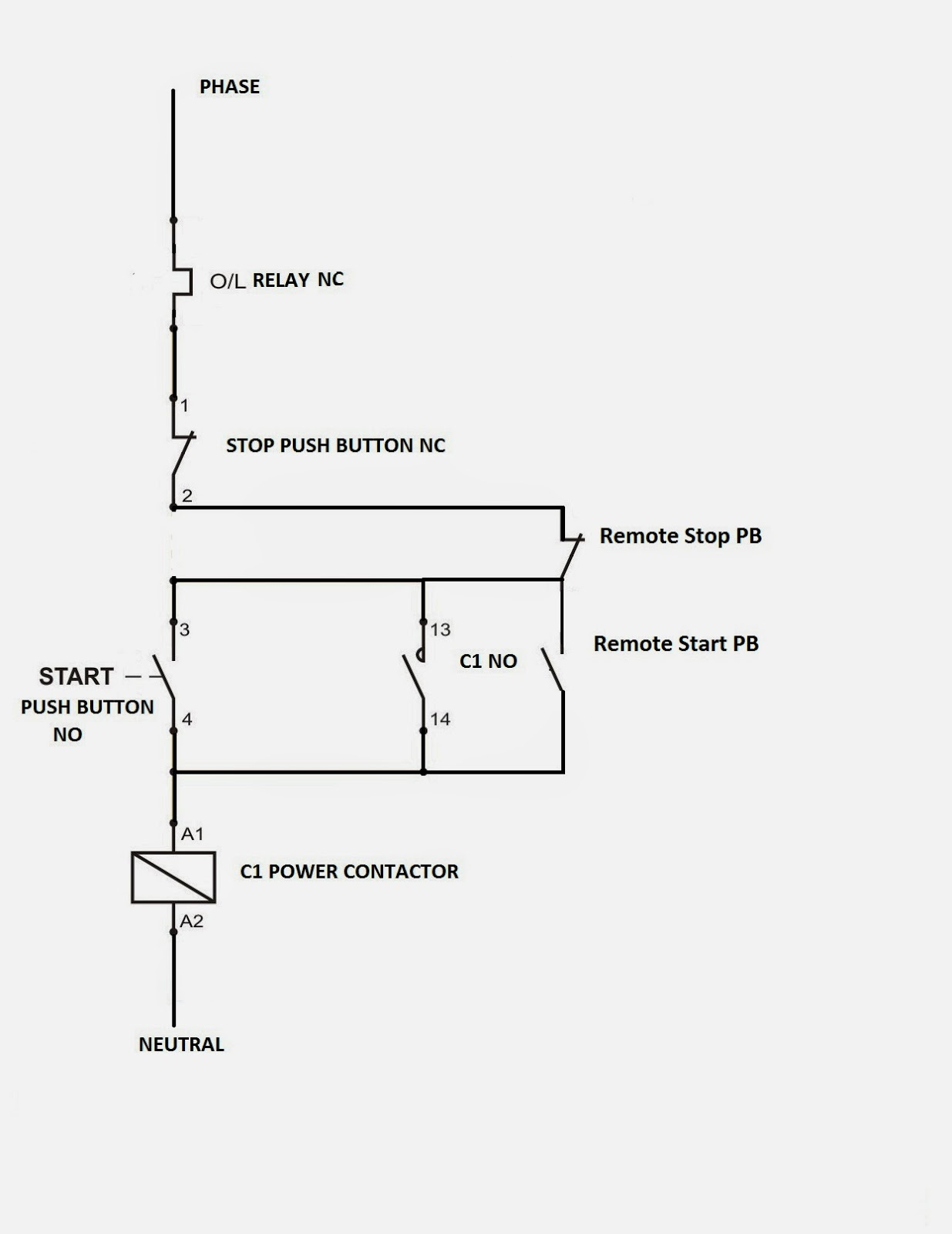 Direct Online Wiring Diagram Library Motor Stop Start Circuit Dol Starter With Remote