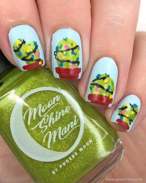 Christmas Cacti Nail Art