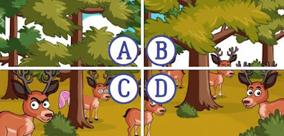 Q 2. Quick! Find the unicorn before these creepy deer do!