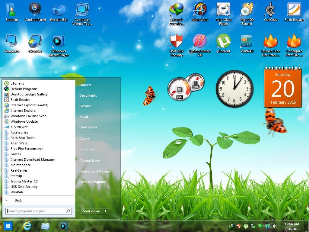 Windows 7 Aero Blue Lite Edition 2016 (x86) Pre-Activated