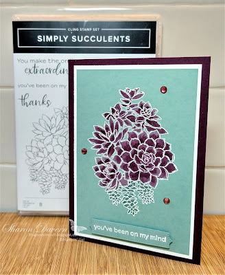 Rhapsody in craft, Blackberry Bliss, Simply Succulents, Potted Succulents Dies, Thinking of you, Friendship Card, Water Painters, Heat Embossed, #colourcreationsbloghop, Stampin' Up!, Annual Catalogue 2021-22