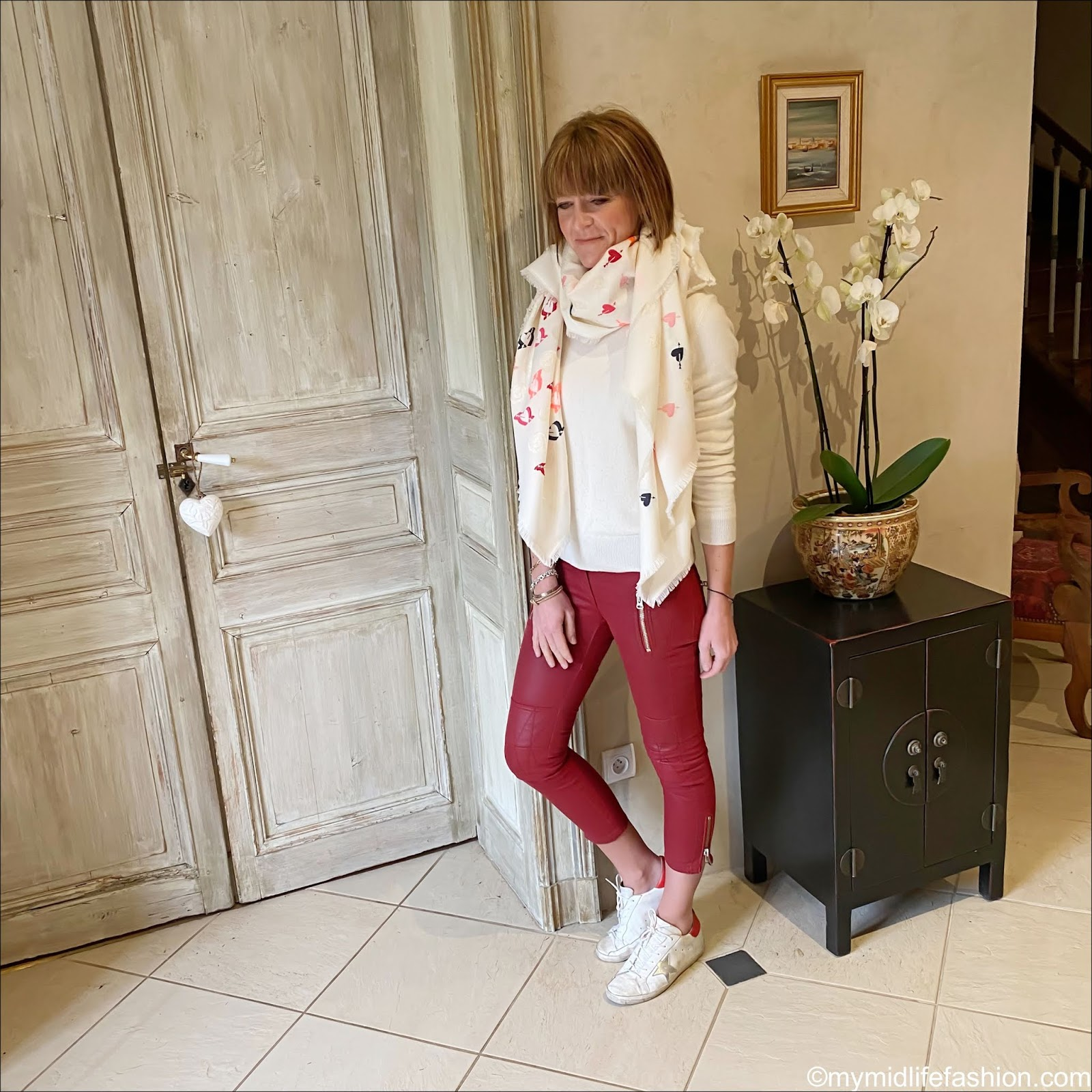 my midlife fashion, Alexander McQueen statement woven heart scarf, Marks and Spencer pure cashmere crew neck jumper, Isabel Marant Etoile biker trousers, golden goose superstar low top leather trainers
