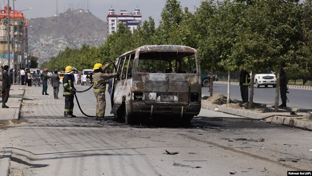 mage Attribute: Kabul bus bombing on June 3, 2019. The bus was carrying employees of the Independent Administrative Reform and Civil Service Commission/ Source: Rahmat Gul/AP
