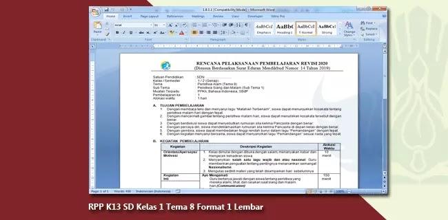 RPP K13 SD Kelas 1 Tema 8 Format 1 Lembar