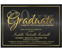 Black/Gold Faux-Foil Grad Party Card