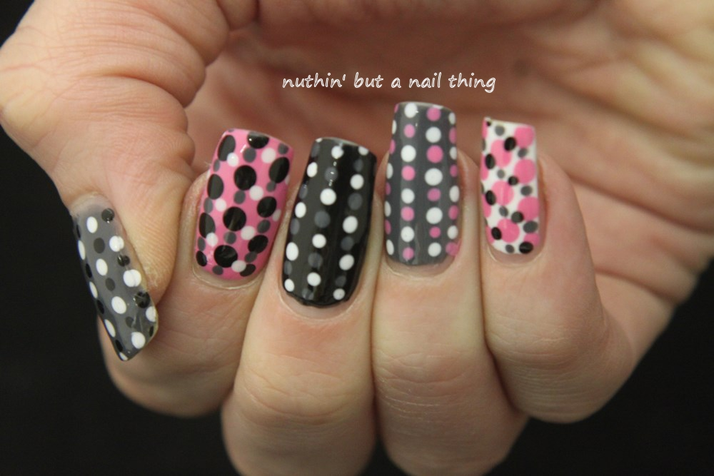 nuthin\' but a nail thing: Grey, pink, black and white all over