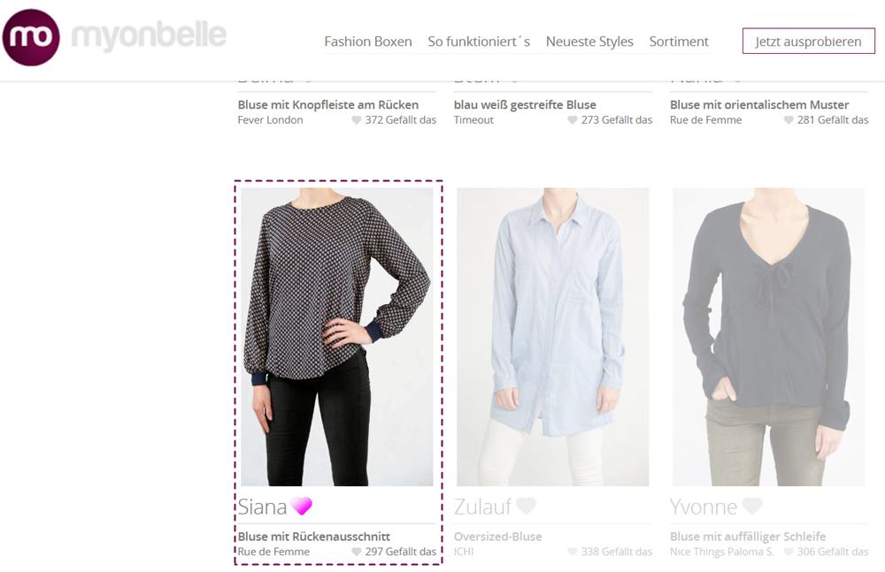 Siana | Blusen & Tuniken | Fashion | Sortiment | myonbelle.de: Dein unendlicher Kleiderschrank Screenshot