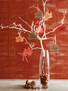 Branches in a clear vase with paper leaves attached that have messages written on them.
