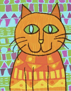 Elementary student's drawing of a cat with pattern