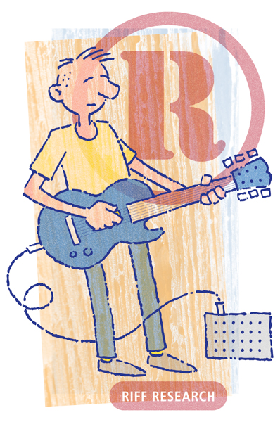 A drawing of a guitar player