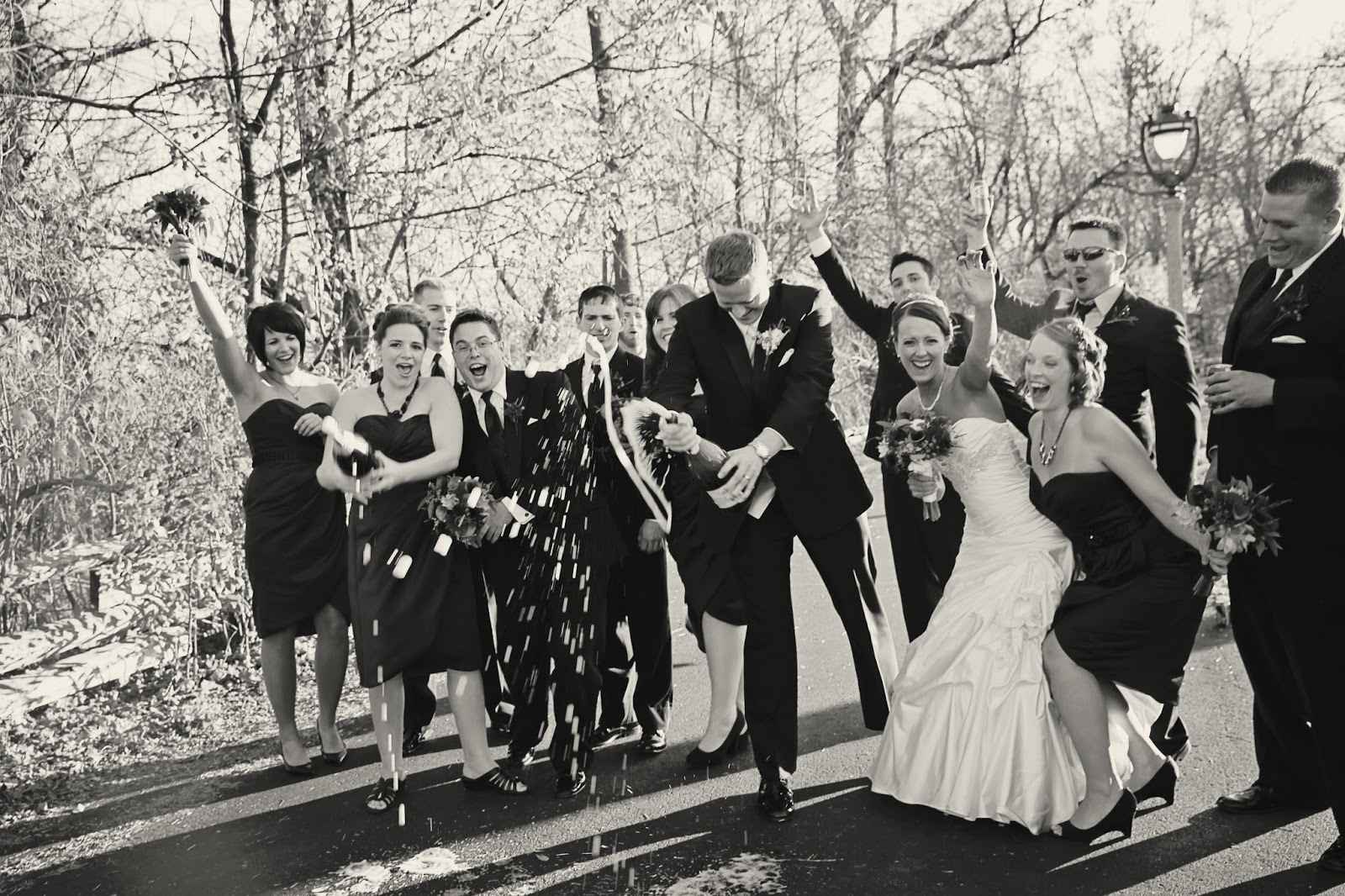 champagne wedding photo