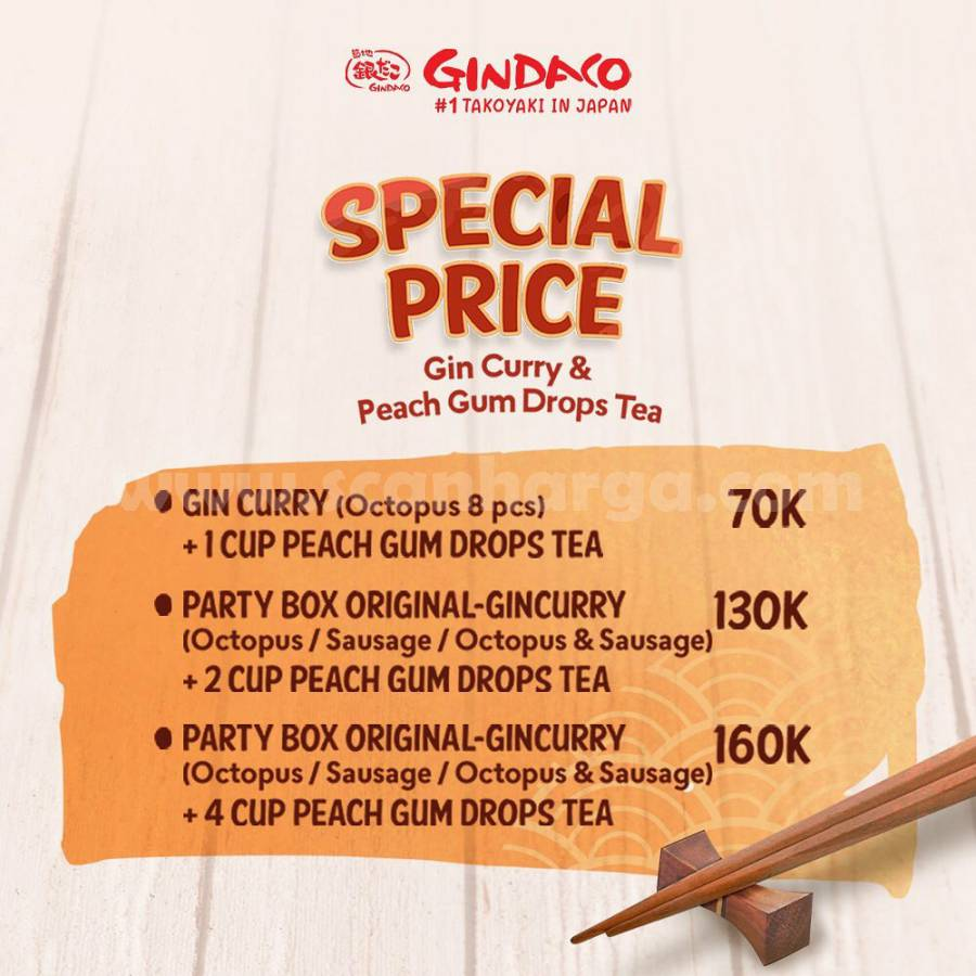 Promo GINDACO Special Price Peach Gum Drops Tea dan Takoyaki mulai dari Rp 70RB