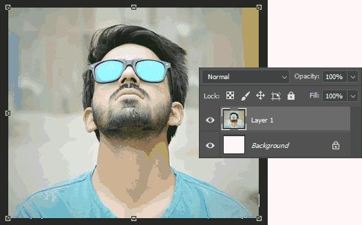 Hasil copy-paste foto dari Paint ke Photoshop