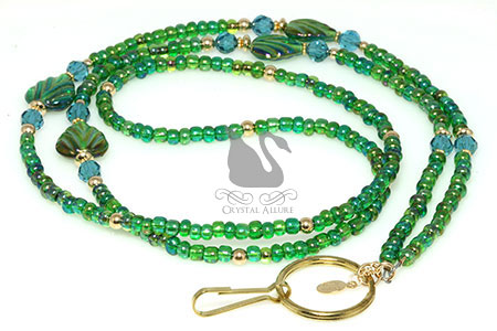 Emerald AB Leaf Gold Blue Crystal Beaded Lanyard (L101)