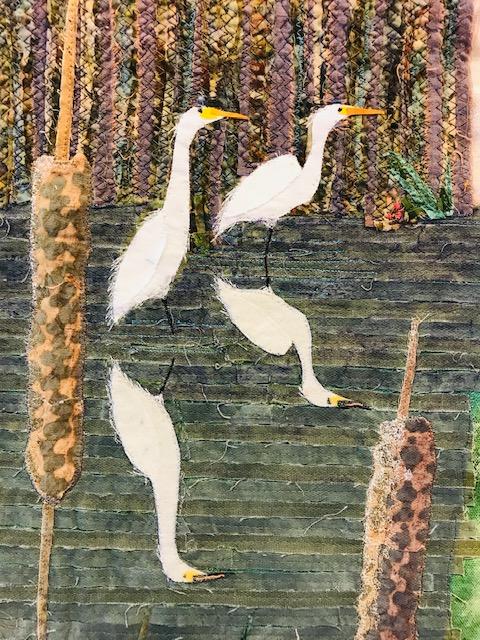RCH; great egret; Ardea alba; fabric art; Giorgio COniglio