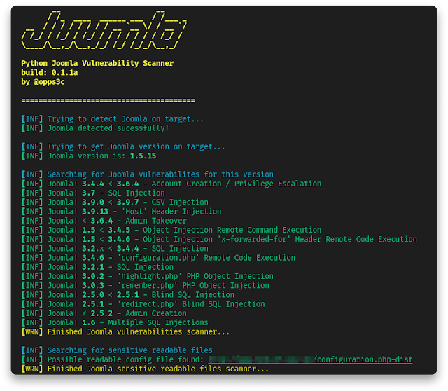 Juumla – Tool Designed To Identify And Scan For Version, Config Files In The CMS Joomla!