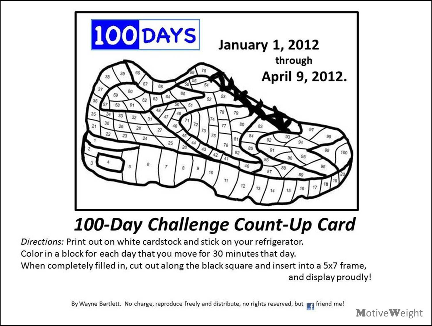 MotiveWeight: 100 Day Challenge Count-up Card