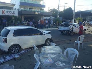 Acidente do tipo colisão envolvendo dois veículos na tarde desta quarta-feira (22) em Catolé do Rocha