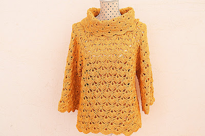 Jersey amarillo a crochet y ganchillo