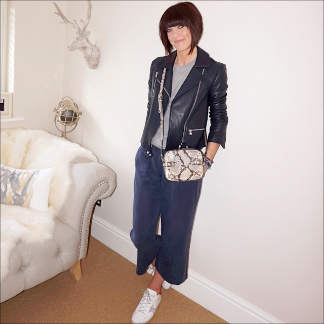 My Midlife Fashion, hm cashmere crew neck sweatshirt, massimo dutti navy leather biker jacket, massimo dutti snake print cross body bag, golden goose superstar leather low top trainers, great plains timed out tencel culottes