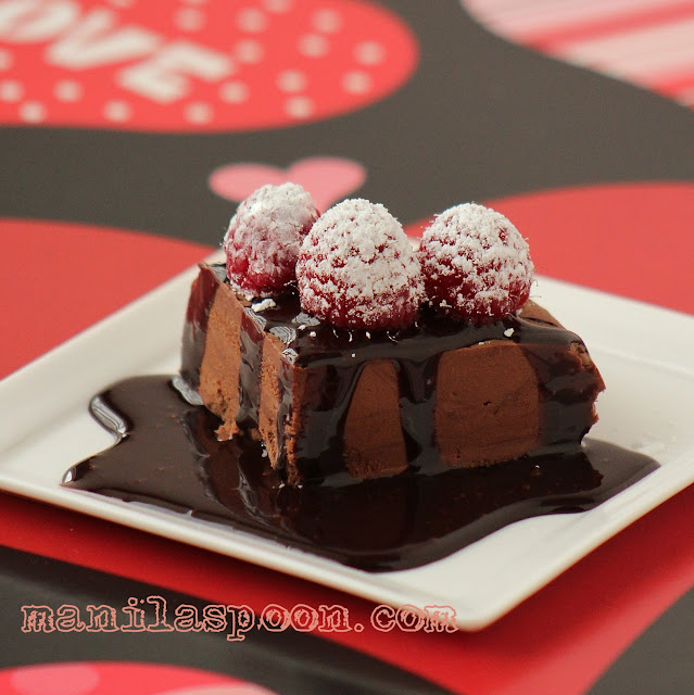 For the ultimate sweet treat this Valentine's Day - No Bake CHOCOLATE MARQUISE! Easy, yummy and perfect for the chocolate lover in you!   manilaspoon.com